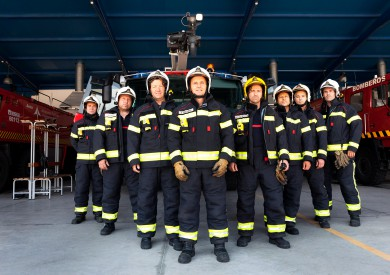 Gunnar Knechtel Photography, Madrid, Barajas Airport . Airport fire brigade formation. Reportage photographed for El País Semanal in June 2013 and published on June, 21th 2013.