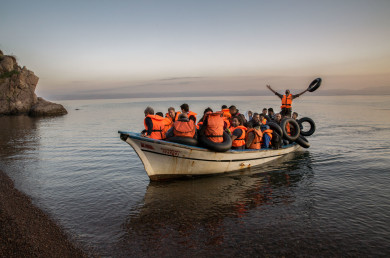 Arrival and departure from Lesvos, Greece