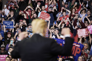 Donald Trump holds a rally in Iowa