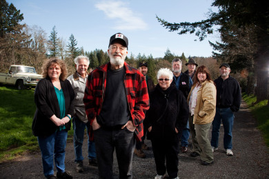 Woody Davis w/ friends and family at his home in Corbett Oregon