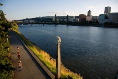Bicyclists along the East bank Esplanade in Portland, Oregon