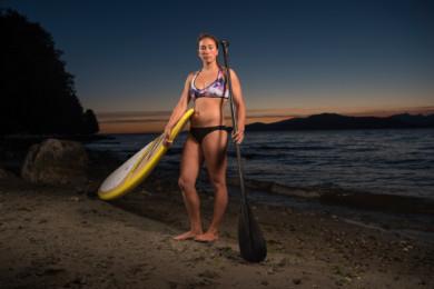 Tina Marr, paddleboard guide, at Spanish Banks.
