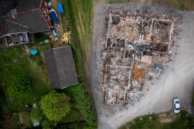 Burned down asylum center in Sweden.