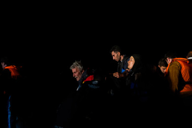 Refugees arrive on the Greek island of Lesbos.