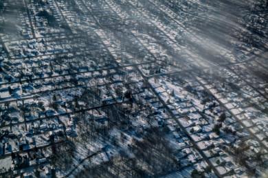 Flint, Michigan from a dirty plane window.  November 2015.