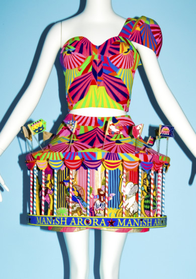 Manish Arora's merry-go-round skirt ensemble from 2009 in the