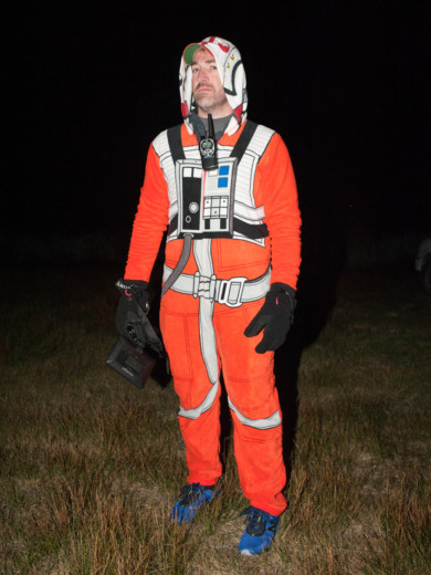 At 2am Jay Steinback, dressed as a rebel pilot, was still in good spirits.