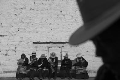 Tibetan pilgrims at Barkhor Circle in Lhasa.