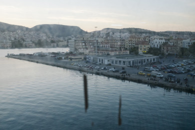 Lesbos island, Greece, from a war refugee packed ferry to Athens.