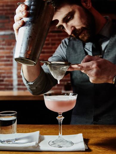 Chef Barbara Lynch's Drink bar -- Clover club cocktail