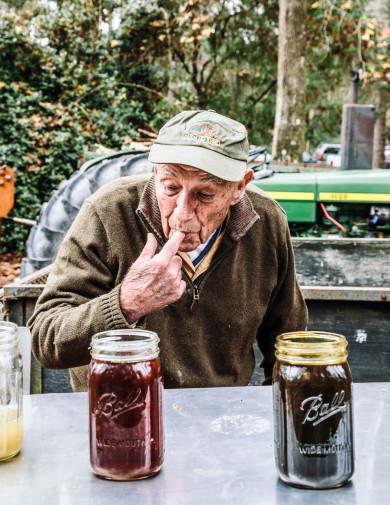 Stewart ?tktktk? tasting Cane Syrup at Lavington Plantation