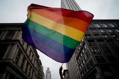 Rainbow flag was wave  above fifth avenue,NYC June 28,2015
