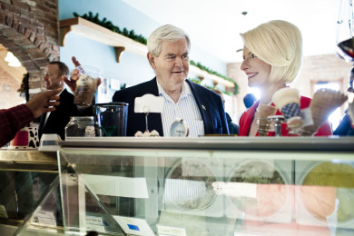 Gingrich Campaigns Across Iowa On Day Of Caucuses