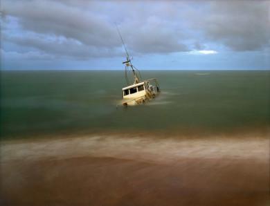 Sunken Coast Guard Boat after the Tsunami - SouthWest Coast of S