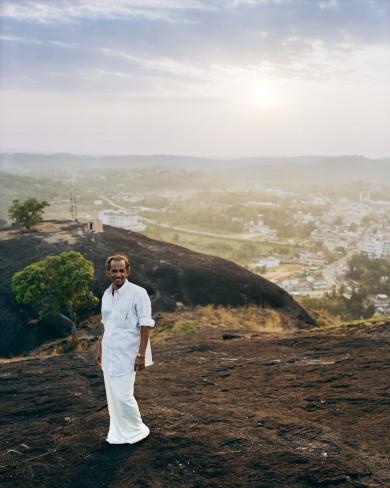Sunset and Man on Mountain - Kerala, India