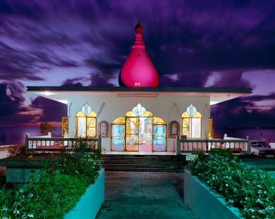 Hindu Temple In the sea at dusk - Waterloo, Trinidad