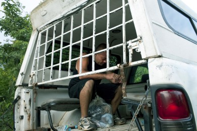 An illegal immigrant sits on a truck after being arrested by inmigration police officers, in Tenosique, Mexico, September 19, 2011. When arrested these people face inmediate deportation towards their contries.