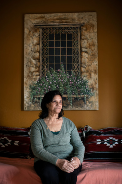 Samira Salah, Palestinian activist in her apartment  Beirut, Lebanon