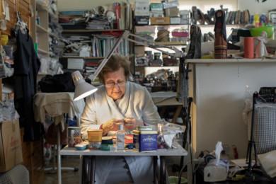 Gizele Sabbagh, Zena's mother, at her work table. Beirut, Labanon