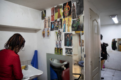 African barber shop in the MatongŽ district, Brussels, Belgium