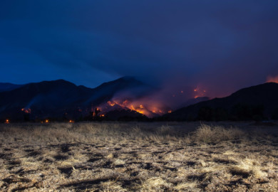 The Holy Fire, burning in the Cleveland National Forest in Orange and Riverside Counties, in California, August 2018.