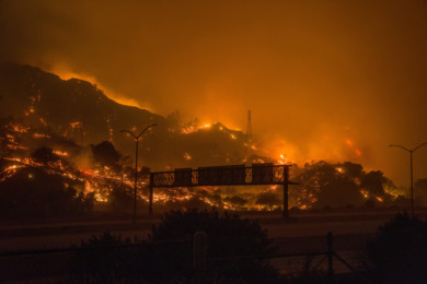 The Saddleridge fire in the northern foothills of the San Fernando Valley, Calif., Oct. 2019.