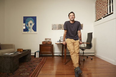 Andrew Kahn at home in Williamsburg for Billboard Magazine