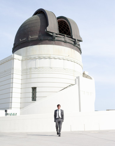 Martin Sastre for L'Uomo Vogue at the Griffith Park Observatory.