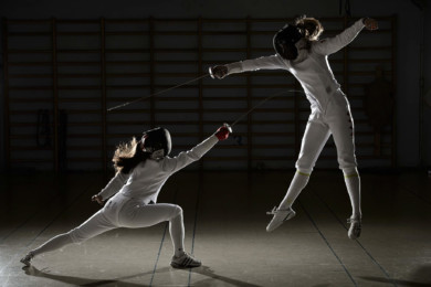 Fencing at the Dynamo Fencing Club in Vancouver.