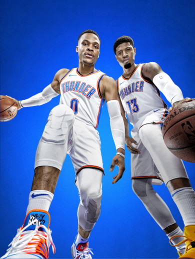 Oklahoma City Thunder Russell Westbrook and Paul George, 2018-19 NBA Basketball Preview