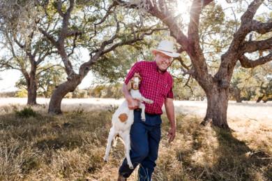 Melvin Kreusler on his farm in Texas, USA.