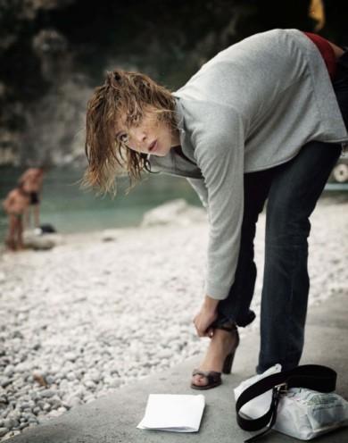 Capri Italy, Summer 2003 , Anna Mouglalis French actress and model.