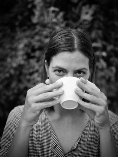 Berlin, Summer 2014 - Franziska drinks a coffee in the park of gleisdreieck.