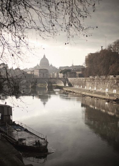 Rome, May 2012 - a view of San Peter and the river Tiber